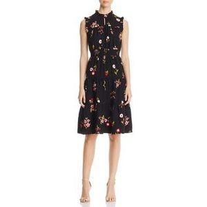 Kate Spade Black floral high neck ruffle dress